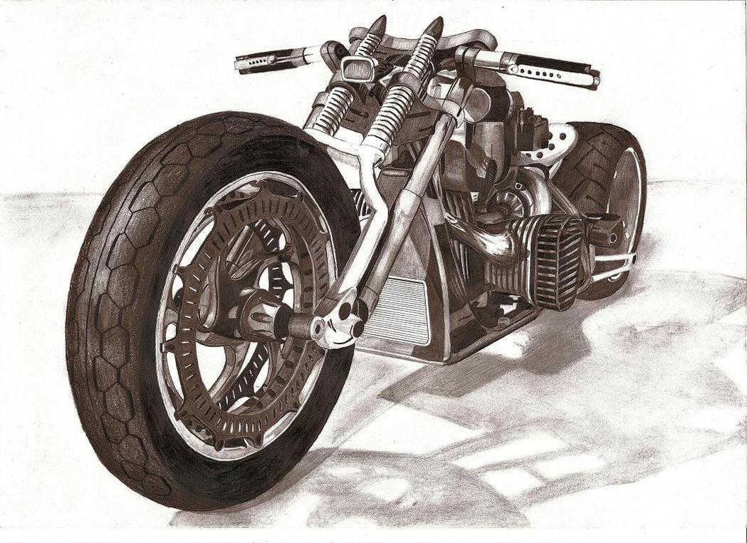 motorcycle pencil by w0jtek1990