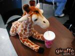 a giraffe drinking a milkshake