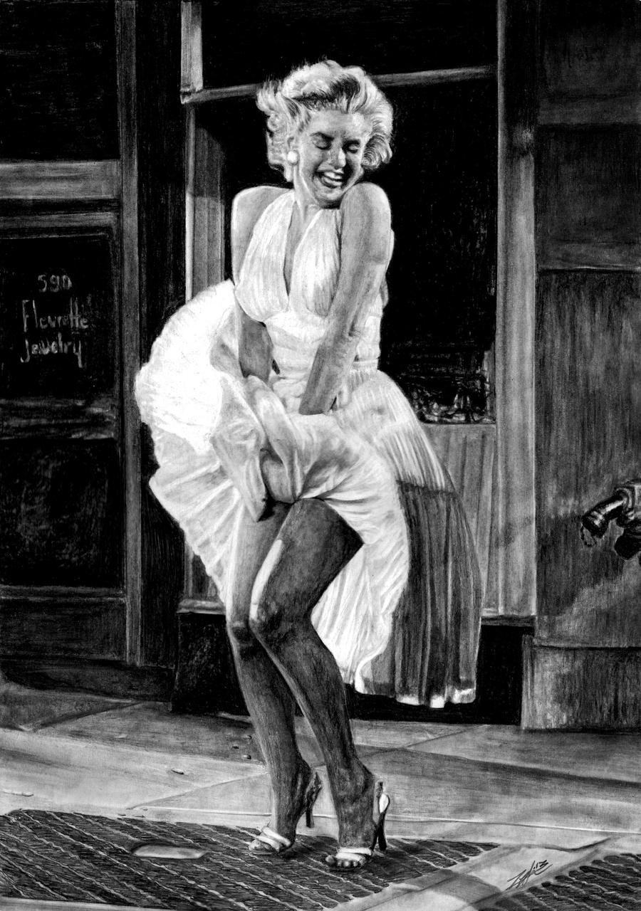 White dress drawing -  Marilyn Monroe White Dress Drawing By Yankeestyle94