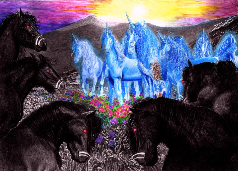 Unicorns vs Kelpies by Yankeestyle94