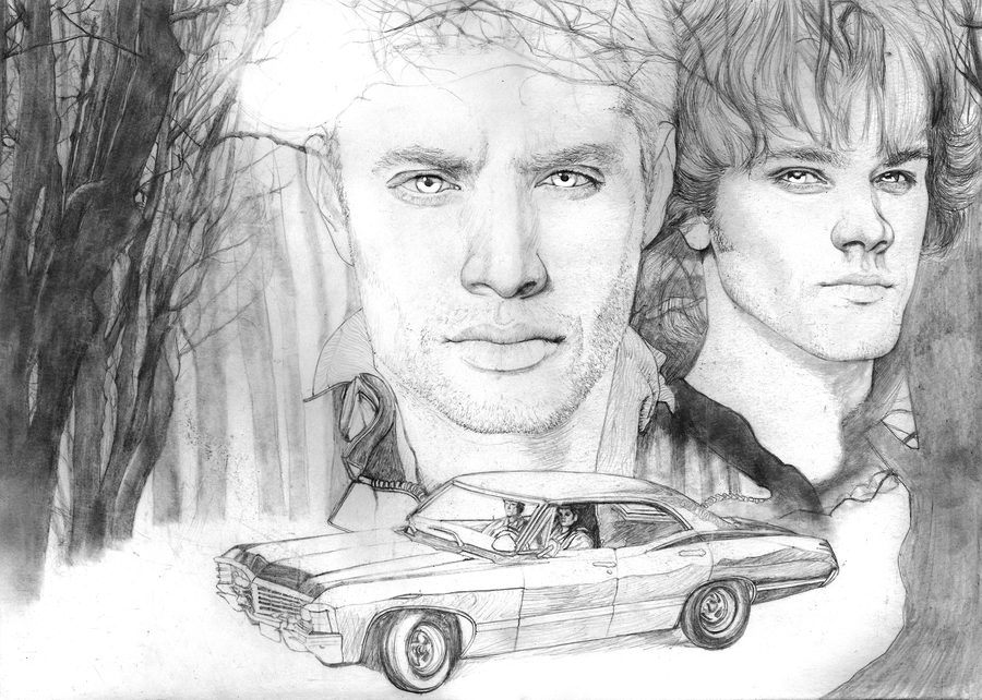 Supernatural Sam and Dean SKETCH by Yankeestyle94