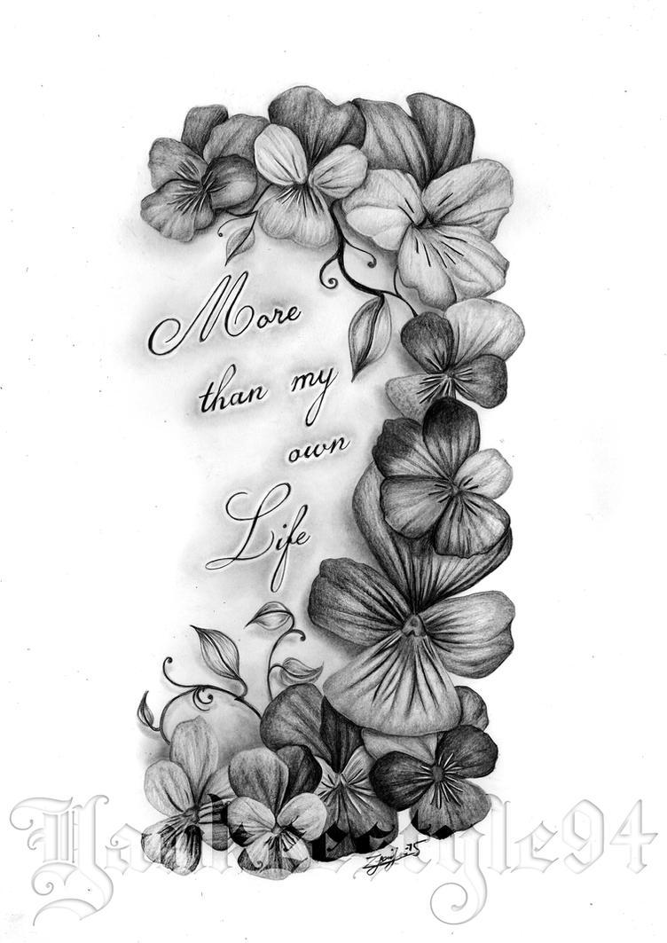 Heartsease Flower TATTOO by Yankeestyle94