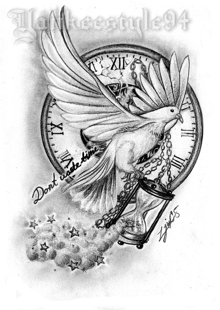 White Dove with an Hourglass TATTOO by Yankeestyle94