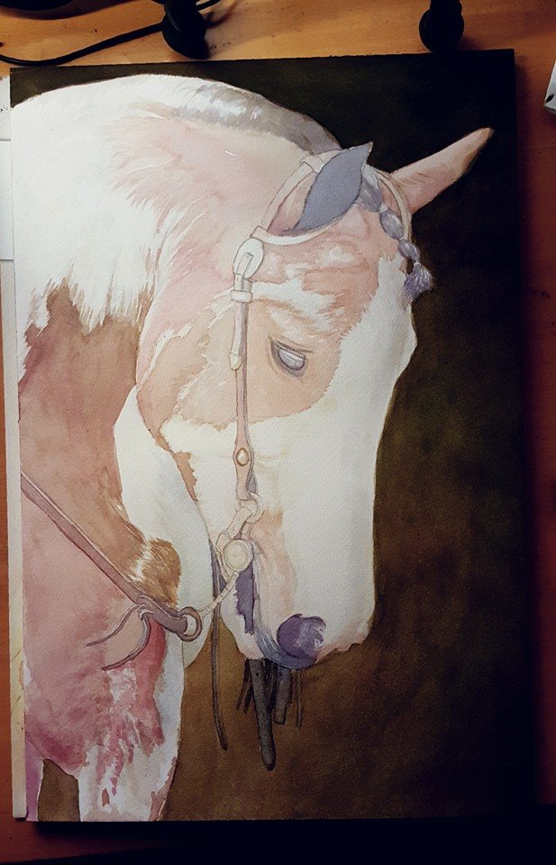 Water color Horse Painting wip 1 by Yankeestyle94