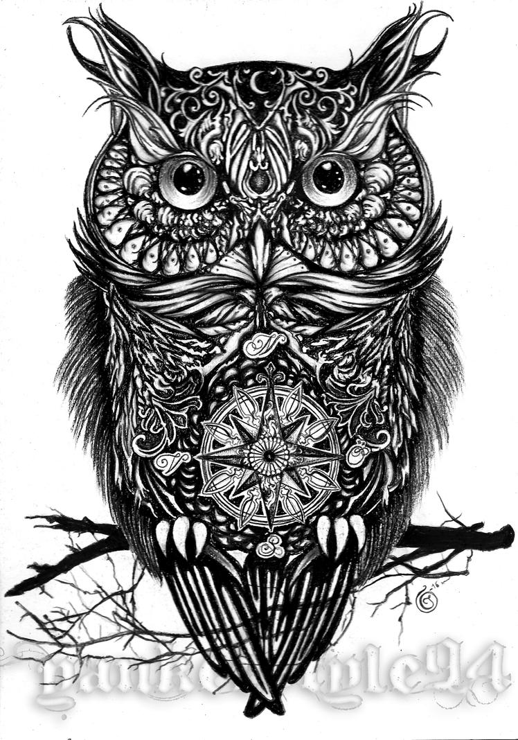 Owl tattoo by yankeestyle94 on deviantart for Black and white tattoo artists