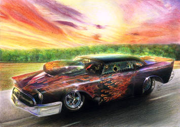 Street Race Car with Beautiful Sunset by Yankeestyle94