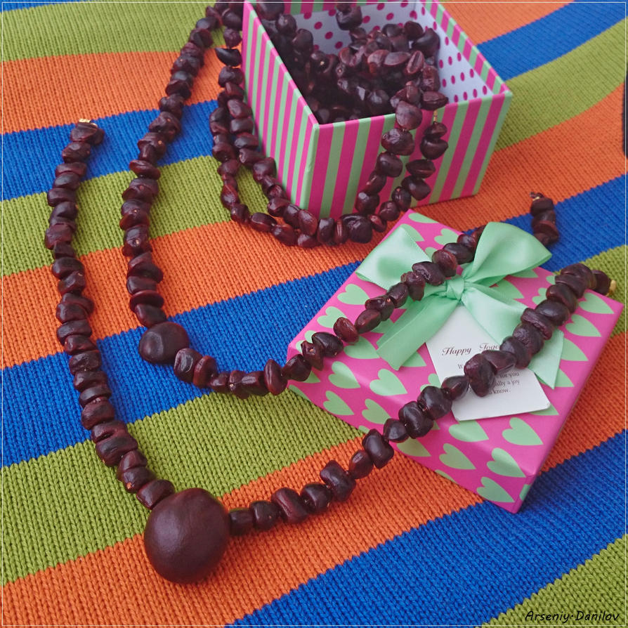 Necklace from the seed of tamarind and chestnuts-2 by Slidragon