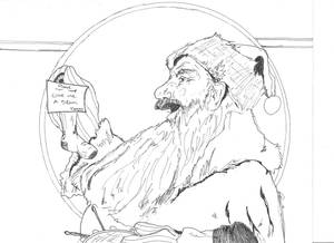 My sketch of Santa - Rockwell Style