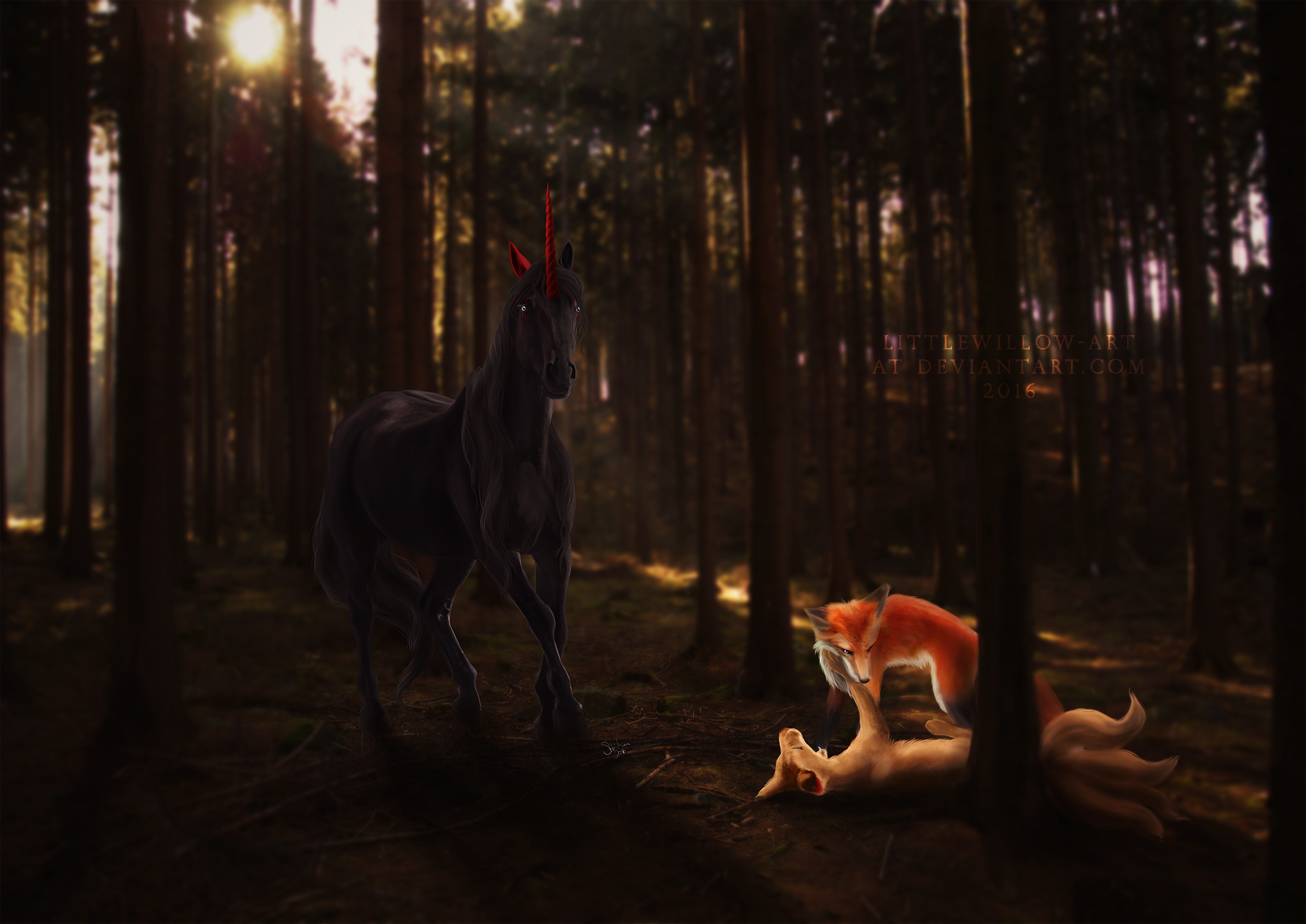 a boy and his foxes by littlewillow-art