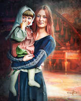 Beautiful woman and her daughter medieval portrait by PraxedesArt