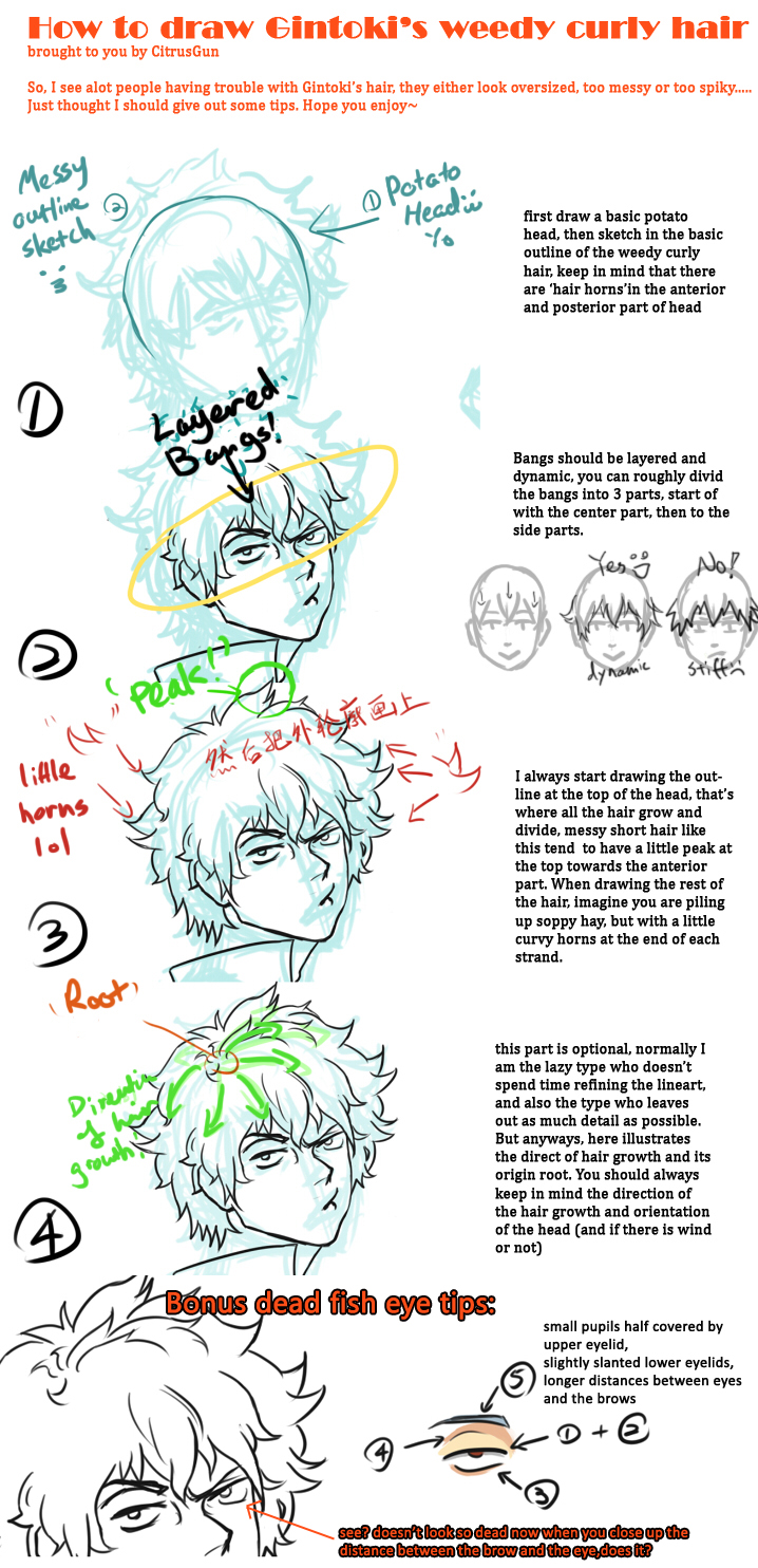 Tutorial: how to draw Gintoki's messy curly hair by ...