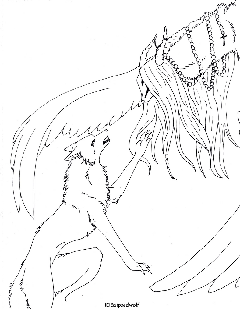 Line Drawing Wolf : Free wolf n god lineart by eclipsedwolf on deviantart
