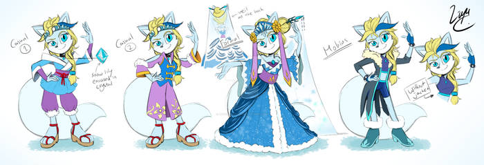 Glacia's outfits (Casual, Royal and Mobius style)