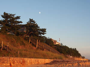 Indian Neck Beach Sunset with Moon