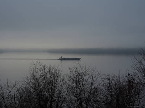 Hudson River Barge Scene