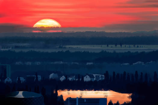 Bucharest Sunset - Study