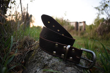Brown paw leather belt