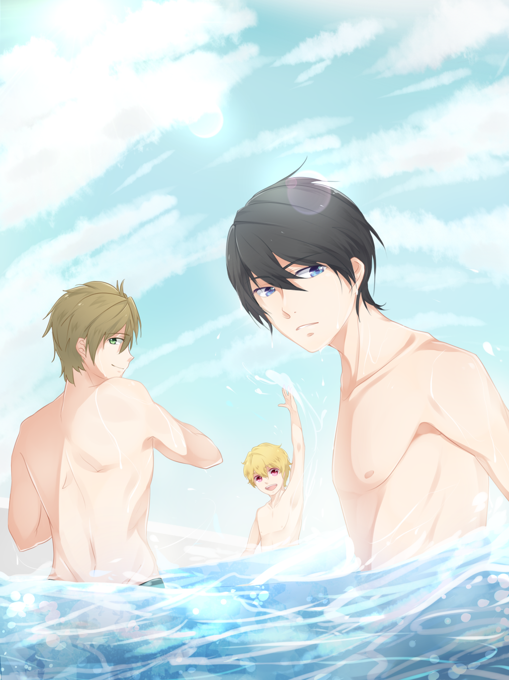 Free! topless guys by naotorii