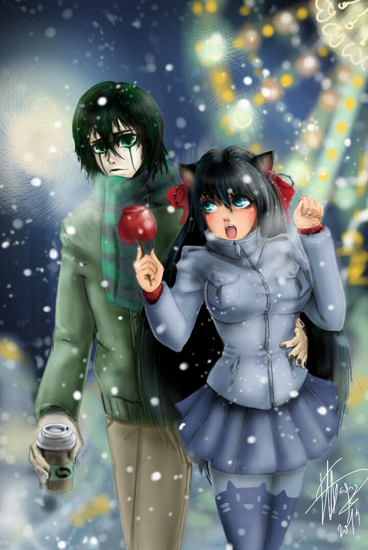 Ulqui and my OC - Winter fanart contest entry by Anislayer