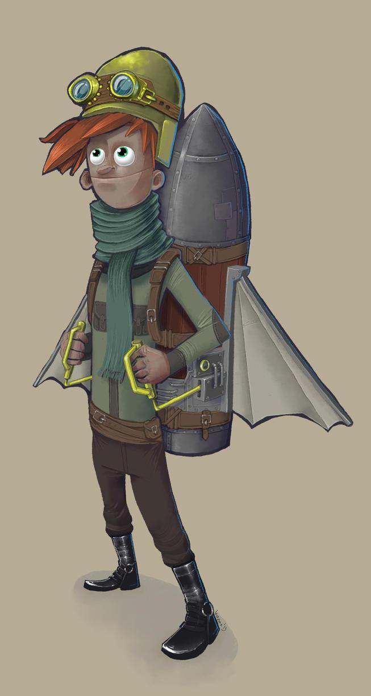 Boy with steampunk jetpack by krzyma on DeviantArt