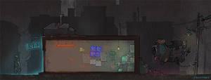 cyberpunk game mockup