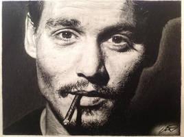 Johnny Depp pencil drawing by derektwilt
