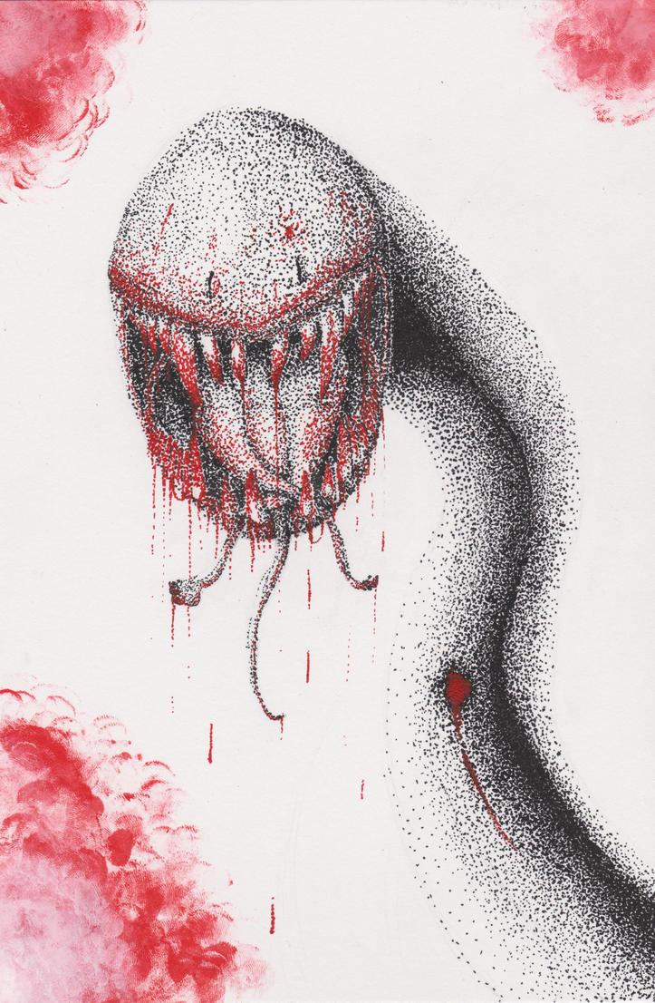 Snake head stipple by InsanityMistress224
