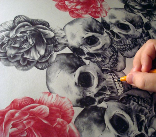 Skull drawing by paulalexanderthornto on deviantart for Amazing drawings of roses