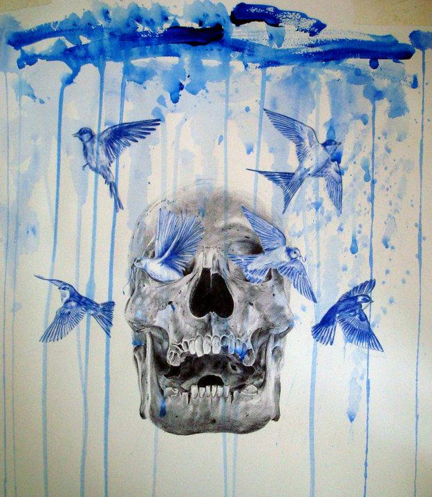 skull and birds 6 by PaulAlexanderThornto
