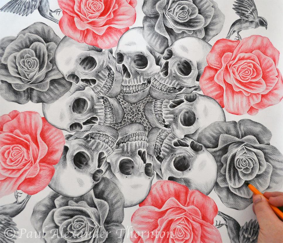 Skulls, Flowers, Bones Circle By PaulAlexanderThornto On