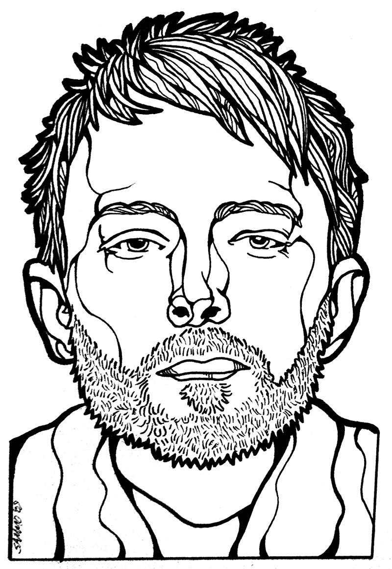 Line Drawing Portrait : Thom yorke radiohead portrait by sammo on deviantart