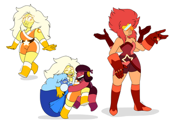 - COMMISSION_Citrine and Padparadscha - by PencilTree
