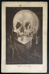 All is Vanity -  Vintage Postcard by KarRedRoses