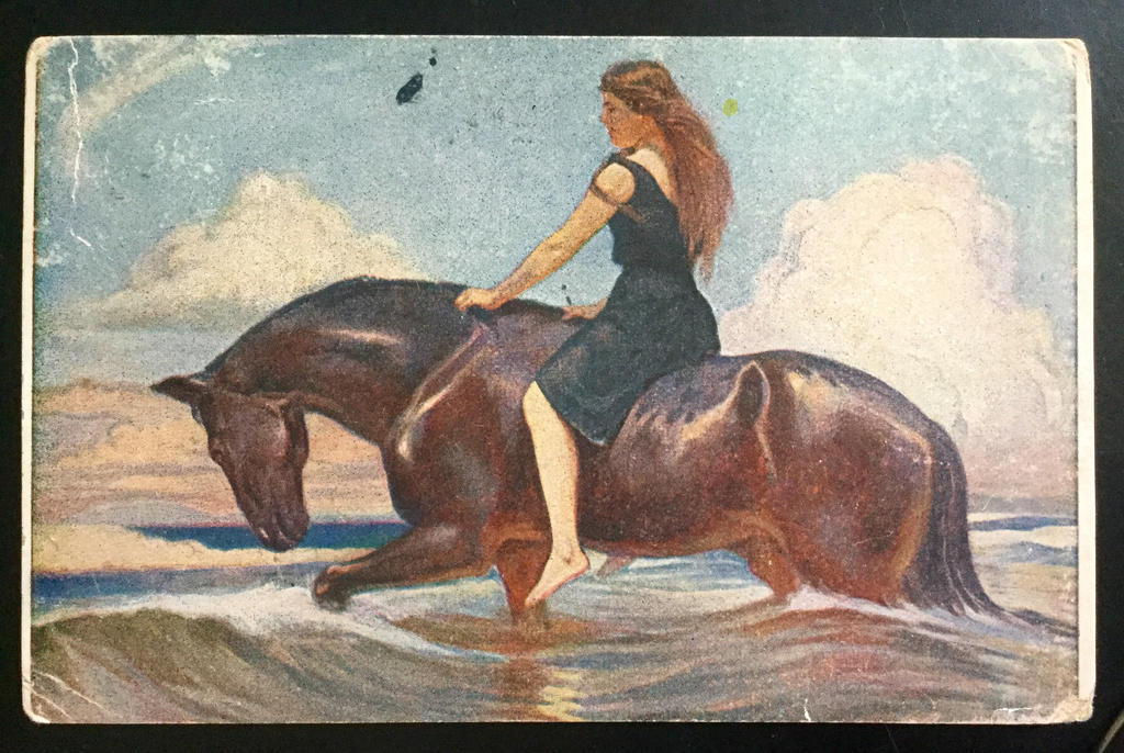 Vintage Postcard 1909 - Woman Riding Horse by KarRedRoses