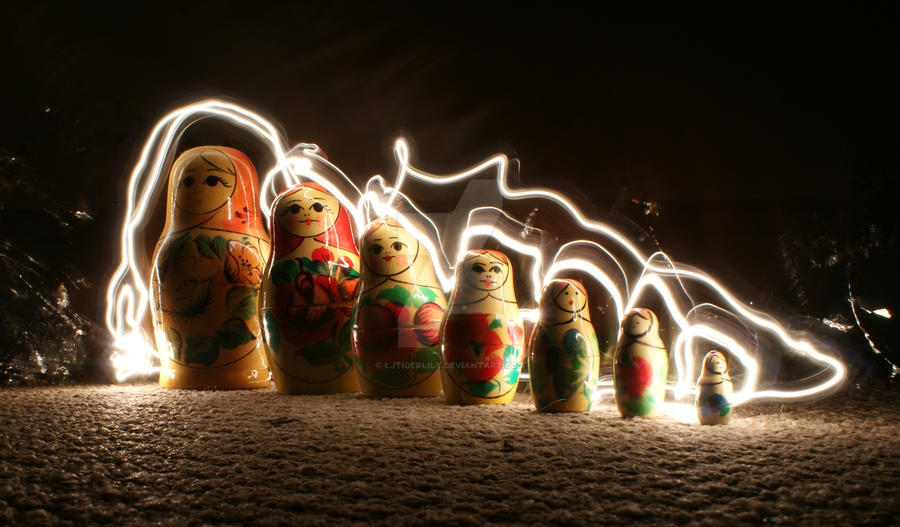 Russian dolls Light Painting by Ljtigerlily