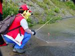 Pokemon trainer Red: Fishing for Karps