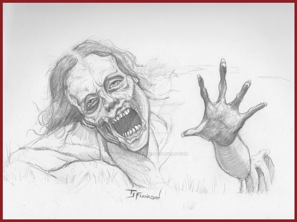 Bicycle girl zombie pencil sketch by tjflanaganworks