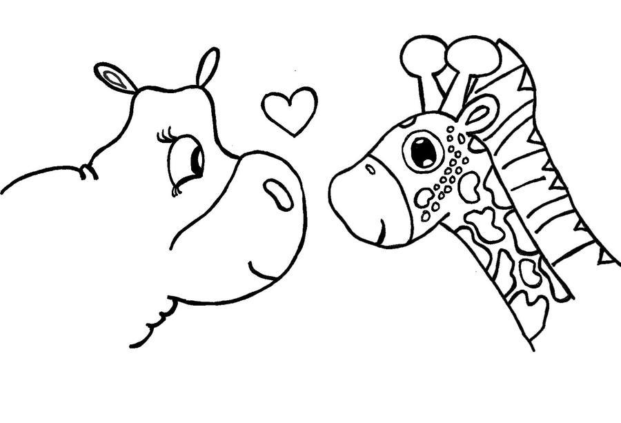 Giraffes in Love Drawing Hippo And Giraffe Love by