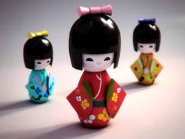 Kokeshi Dolls by Jonnathon