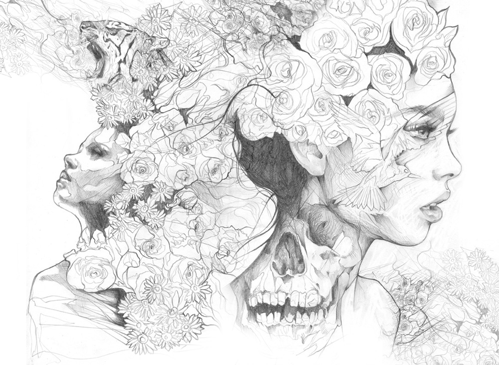 Pencil drawing mash up by art by doc
