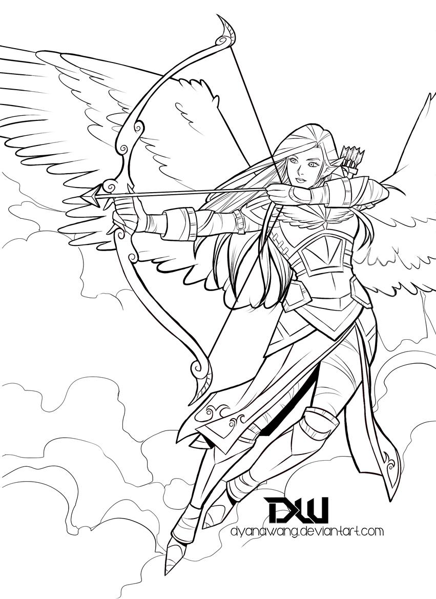 Angel Face Line Drawing : Angel warrior by dyanawang on deviantart