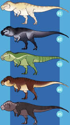 [Adoptables] Tyrannosaurus Set 1 by MatthewOnArt