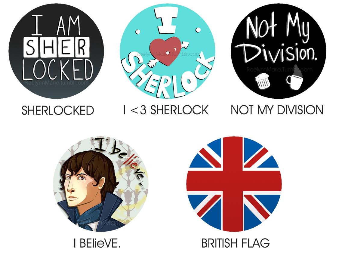 Buttons: Sherlock by RaelynnMarie