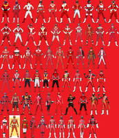 Sentai Red Ranger Lineup by AdrenalineRush1996