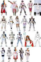 Sentai White Ranger Lineup by AdrenalineRush1996