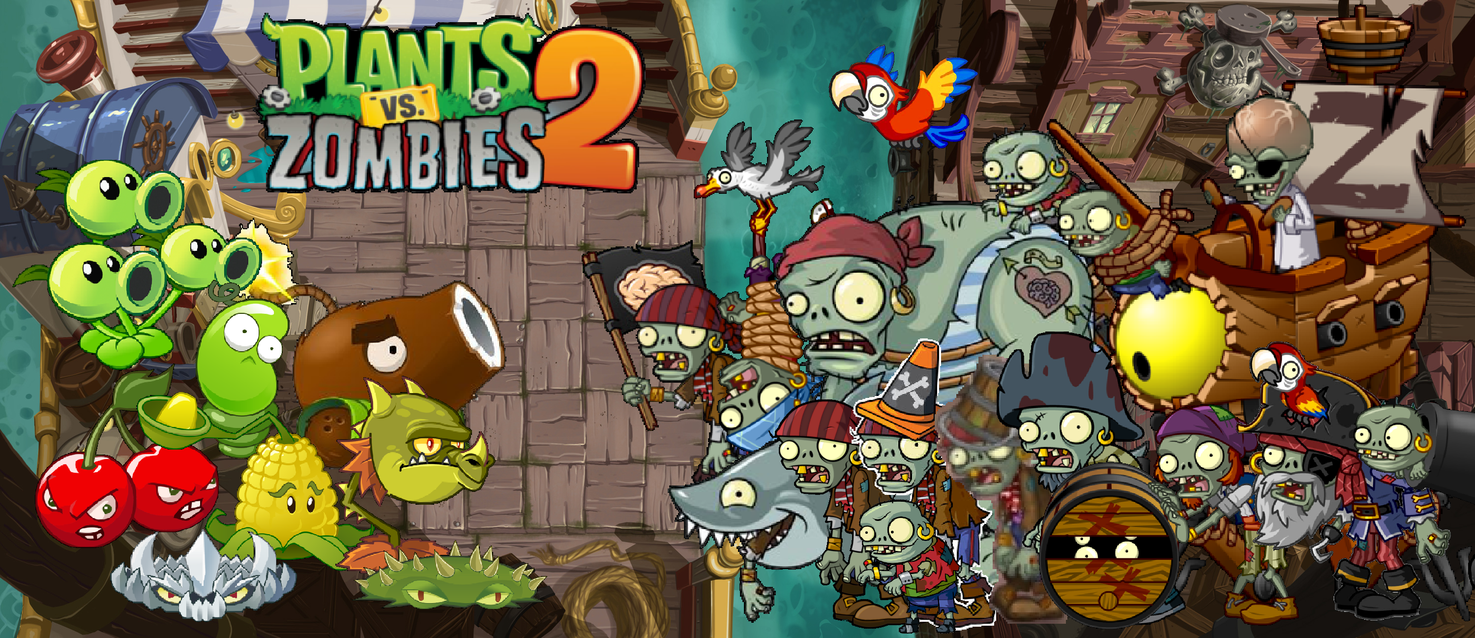 Plants vs Zombies 2 Pirate Seas Wallpaper by