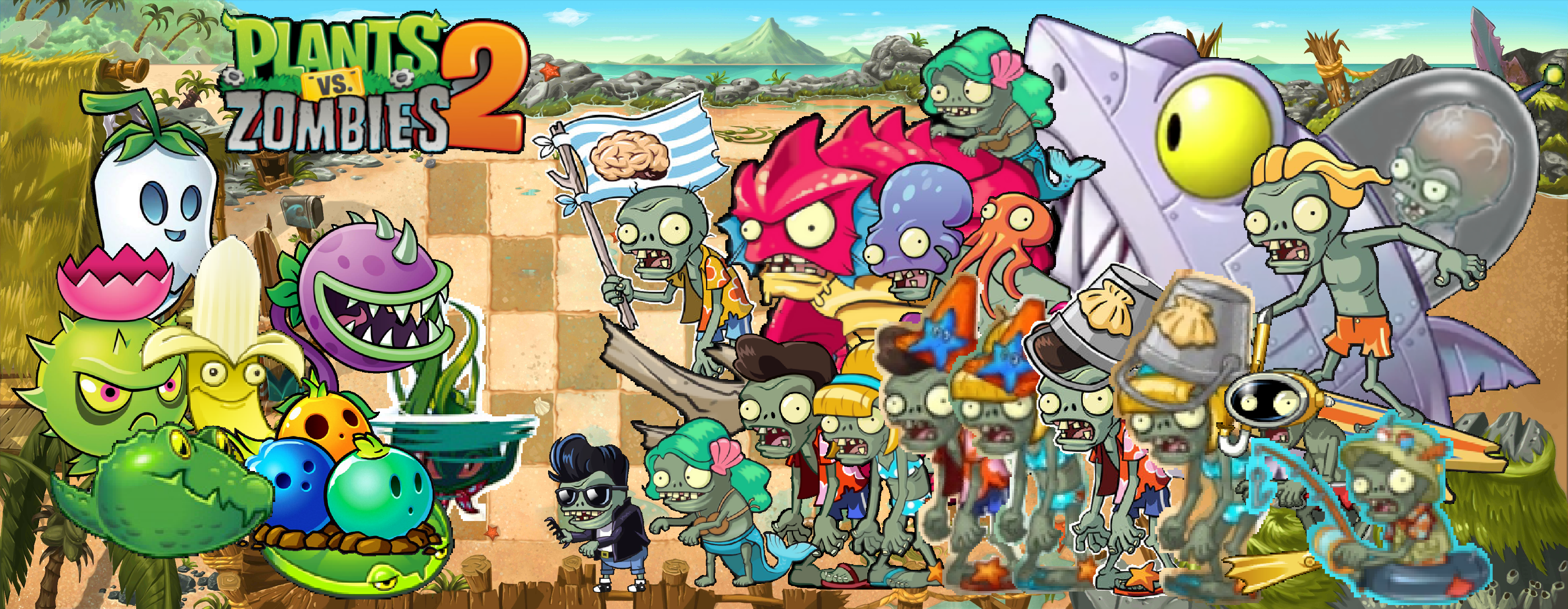 Plant Vs Zombies 2 Wallpaper: Plants Vs Zombies 2 Big Wave Beach Wallpaper By