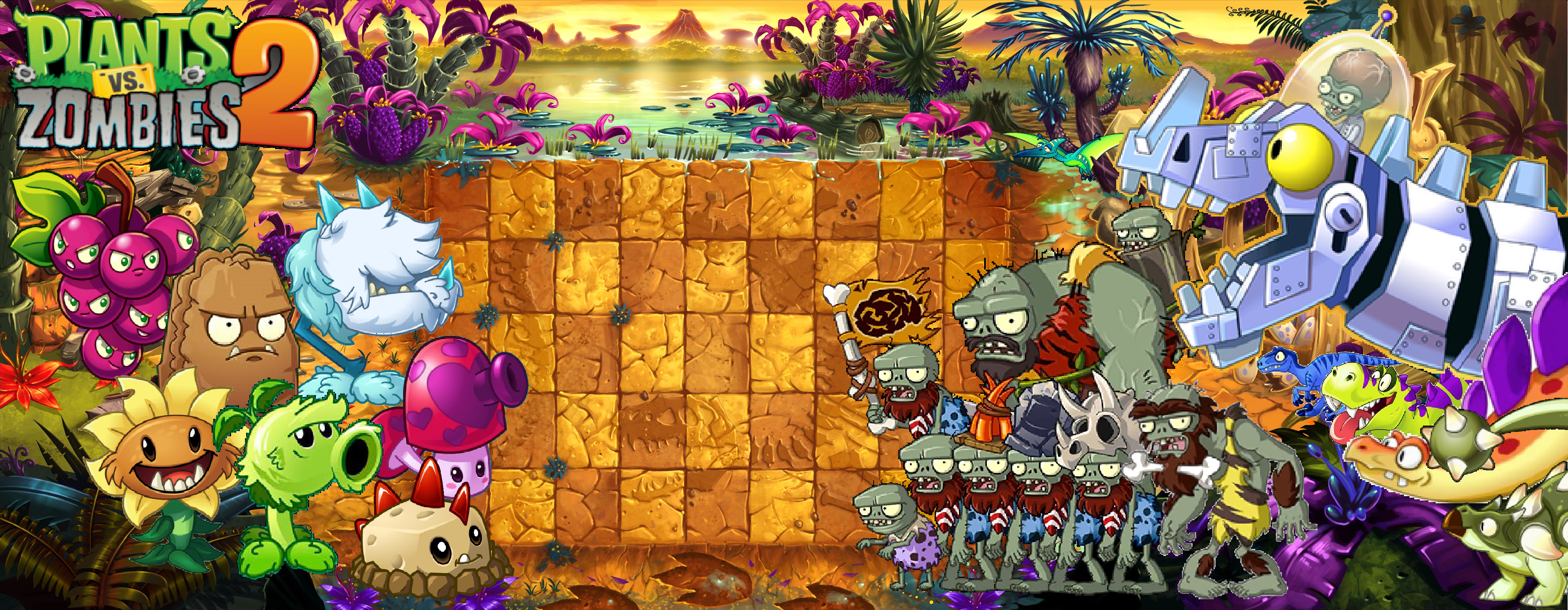 Plant Vs Zombies 2 Wallpaper: Plants Vs Zombies 2 Jurassic Marsh Wallpaper By