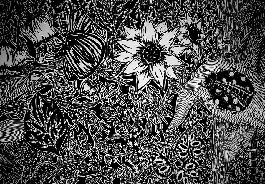Anna Legaspi Jungle Abstract Black and White drawing Pen and Ink Original Art