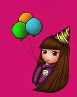Kokeshi Doll Happy Birthday